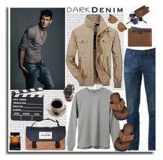 """Dark Denim"" by leegal57 ❤ liked on Polyvore featuring Herschel Supply Co., Urban Pipeline, Jeep Rich, L.L.Bean, TW Steel, Persol, Dakine, Dolce&Gabbana, men's fashion and menswear"