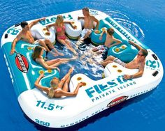 Fiesta Island Floating Lounge Lounge is for up to 8 people. 11.5' x 11.5' floating island. Lounge has 8 cup holders. Mesh floor for water. Riders can sit on mesh floor or inflatable platform.