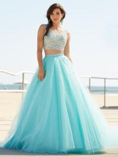 2 Pieces Prom Dresses,O-Neck Sleeveless A-Line Court Train #prom #promdress #dress #eveningdress #evening #fashion #love #shopping #art #dress #women #mermaid #SEXY #SexyGirl #PromDresses