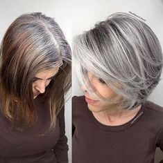 Brassy damaged hair to healthy icy silver. I started the long process by cutting the hair bob with layers because I believe in Stunning Grey Hair Color Ideas and Styles Grey or silver hair seems to have become a bit of a \thing\ recentl Gray Hair Growing Out, Grow Hair, Grey Hair Looks, Grey Hair Bob, Long Gray Hair, Grey Blonde Hair, Grey Hair Over 50, Black And Grey Hair, Grey Hair Care