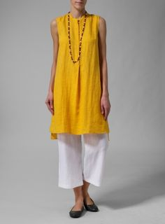 Linen Sleeveless A-line Long Tunic With Slim Pants