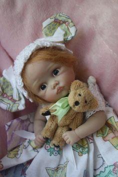 OOAK polymer clay art doll handsculpted poseable Sweet baby girl Ava by YivArt