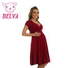 9b3474953 Belva moda formal dress 4 colores dress algodón cómodo de maternidad  embarazo embarazada embarazo ropa de