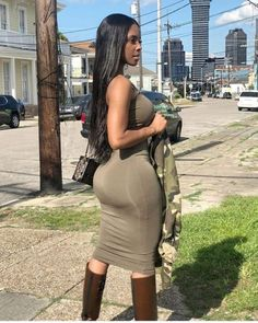Sexy black babe in a tight dress Tight Dresses, Sexy Dresses, I Love Black Women, Sunday Dress, Sexy Ebony, Perfect Woman, Black Booties, Most Beautiful Women, Passion For Fashion