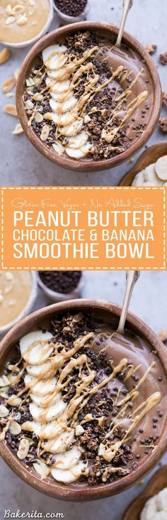 Chocolate Peanut Butter Banana Smoothie Bowl tastes like a peanut butter cup, but it's actually a filling, superfood-packed breakfast that comes together in just 5 minutes! This gluten-free + vegan smoothie bowl is the perfect way to start the day. Breakfast And Brunch, Breakfast Bowls, Breakfast Healthy, Breakfast Ideas, Brunch Ideas, Banana Breakfast, Vegan Breakfast Smoothie, Peanut Butter Breakfast, Breakfast Bake