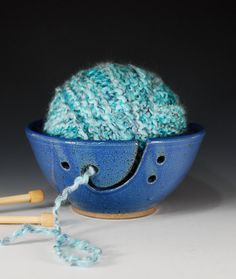Yarn bowl by @CarolBroadley $28 http://www.etsy.com/listing/91863661/yarn-bowl-knitting-bowl-in-french-blue