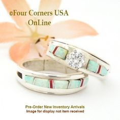 Pre Order Size 5 White Fire Opal And Coral Engagement Bridal Wedding Ring Set Native American Wilbert Muskett Jr Four Corners USA OnLine Navajo Silver
