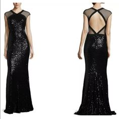 BADGLEY MISCHKA SEQUIN CUTOUT EVENING GOWN SEQUIN CUTOUT EVENING GOWN  Brand: Badgley Mischka  Color: Black  Material: Nylon  Condition: New  Details: Make a sparkling statement in this all-over sequin gown with sexy cutout back. V-neckline. Cap sleeves. Illusion mesh panels throughout. Back double hook-and-eye closure at neck. Back cutout. Back zipper closure. You will be turning heads in this sparkling silhouette all night long. Badgley Mischka Dresses Prom