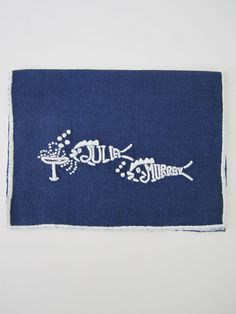 """""""They drink like fish"""" Cocktail Napkins- Navy & White by Julia B.  from Julia B. Custom Linens"""
