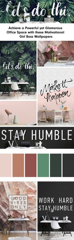 Browse & shop our range of motivational wallpaper. Create an inspirational interior with our amazing famous quote designs. Tropical Wallpaper, Botanical Wallpaper, Pastel Wallpaper, Boss Wallpaper, Wall Wallpaper, Motivational Wallpaper, Inspirational Wallpapers, Botanical Interior, Office Decor