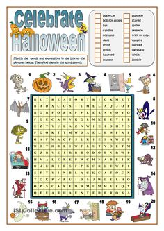 CELEBRATE HALLOWEEN - WORD SEARCH