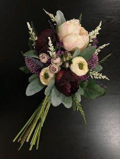 Purple Wedding bouquet, bridal bouquet, purple bridal bouquet, burgundy bridal b… – 2019 - Flowers Decor Fake Wedding Flowers, Small Wedding Bouquets, Winter Bridal Bouquets, Prom Flowers, Diy Wedding Bouquet, Bridal Flowers, Floral Wedding, Burgundy Wedding Flowers, Small Flower Bouquet