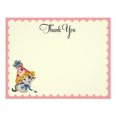 Kitty Birthday Flat Thank You Notes Personalized Announcements