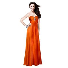 Fashion Plaza Strapless Bridesmaid Formal Evening Crystal Party Dress D0135 (US4, Orange Red)