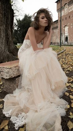 Liz Martinez Bridal Collection - Milan 2015.... I LOVE the color of the tulle... palest palest nude/blush