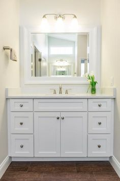 Clean, Timeless Bathroom With White Shaker Cabinets