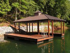 Custom Signature boat dock with Hip roof  Kroeger Marine Construction | Seneca, SC