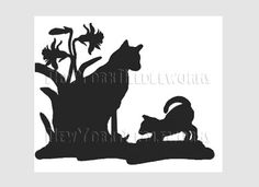 Cats Silhouette Cross Stitch Needlepoint Pattern by NewYorkNeedleworks