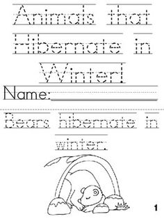 Animals That Hibernate In Winter Cut Trace Color Printable Book