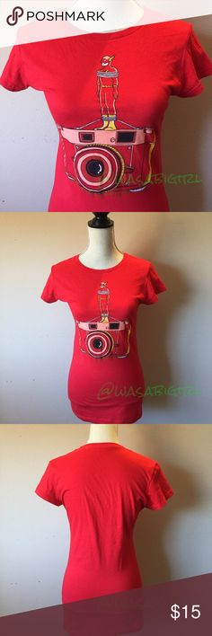 NWOT Flash Camera Mashup Tee For the comic chick. Nerdy cool. Never worn. Slim fit. Tag says Medium fits slim like an XS. 100% preshrunk cotton. 🚫No Trades Tee Fury Tops Tees - Short Sleeve