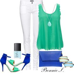 teal, cobalt & white, created by bonnaroosky on Polyvore