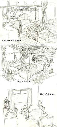 Harry Potter: Bedrooms by Catching-Smoke.deviantart.com on @DeviantArt