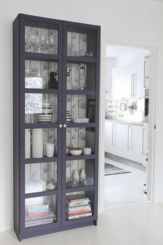 love the paint colour and the background wallpaper ikea cabinet hacks is cre Crockery Cabinet, Ikea China Cabinet, Curio Cabinet Decor, Hutch Cabinet, Cabinet Storage, Shoe Cabinet, Kitchen Storage, Painted Furniture, Diy Furniture