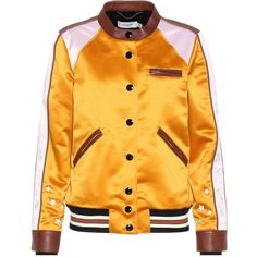Coach Leather-Trimmed Satin Bomber Jacket (18,570 MXN) ❤ liked on Polyvore featuring outerwear, jackets, yellow, leather trim jacket, yellow jacket, coach jacket, bomber jackets and blouson jacket
