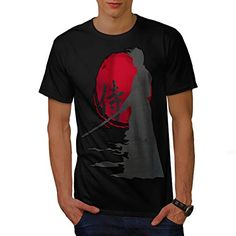Samurai Silhouette Oriental Sun Men NEW L Tshirt  Wellcoda >>> Details can be found by clicking on the image.