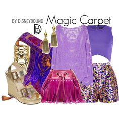 Disney Bound: Magic Carpet from Disney's Aladdin Disney Themed Outfits, Disney Bound Outfits, Disney Inspired Fashion, Disney Fashion, Fashion Outfits, Disney Dress Up, Disney Clothes, Estilo Disney, Character Inspired Outfits