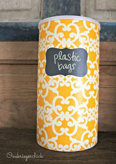 #DIY plastic bag storage container. Perfect to keep plastic shopping bags off your dorm room floor!