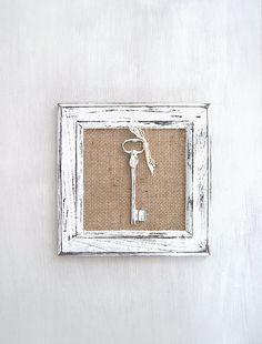 Shabby chic key wall decor. Distressed art frame. Rustic wall hanging decor. Antique style skeleton key wall art. Framed key with burlap. by MewAndMew on Etsy