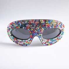STONE MASQ Shades Oversized Masquerade Mask Shaped Sunglasses Sunnies in Black and Multicolor Rhinestones via Etsy