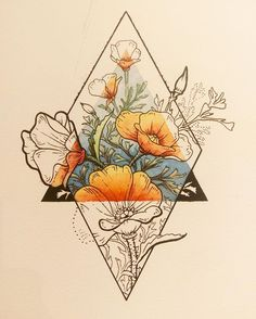 I love this idea with my families birth flowers with an earth symbol in the triangle. Back of my arm would be perfect...