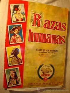 ALBUM DE CROMOS ORIGINAL INCOMPLETO RAZAS HUMANAS .EDITORIAL BRUGUERA. MUY BUEN ESTADO.
