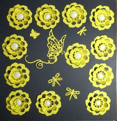 3D FLOWERS WITH BUTTERFLY  e-33 scrapbooking cricut diecuts DISNEY premade pages