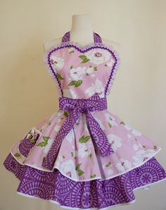 Full Apron with Lilac and Purple Flower pattern