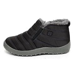 eca8209e71e EpicStep Women s Black Winter Warm Fabric Fur-lined Slip On Ankle Snow  Short Boots Sneakers