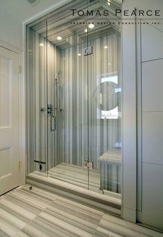 boy's bathroom | Tomas Pearce vein cut marble grey stripe stone slab shower walls can lights in shower