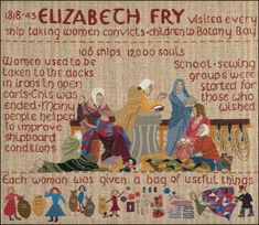 "English Quaker Elizabeth Fry ""visited every ship taking women convicts and children to Botany Bay... School & sewing groups were started for those who wished, and each woman was given 'a bag of useful things'..."" Many used their fabric and notions to make a quilt during the long weeks of the voyage, for comfort, to sell upon arrival, or to prove their skill as seamstresses when looking for work in the strange new colony."