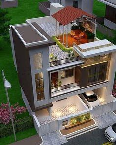 Modern Small House Design, Modern Exterior House Designs, Modern House Facades, Dream House Exterior, Modern Design, Minimalist House Design, Modern Architecture, Modern Contemporary, 3 Storey House Design