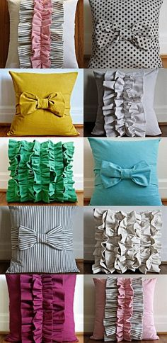 DIY pillows for the studio: must do! I love DIY Pillows. Cute Crafts, Diy And Crafts, Craft Projects, Sewing Projects, Craft Ideas, Do It Yourself Baby, Ruffle Pillow, Bedding, Diy Projects