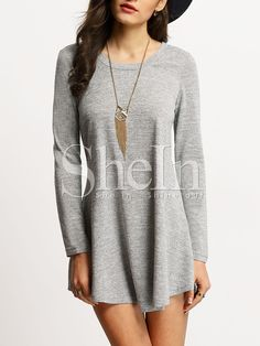 Shop Grey Scoop Neck T-shirt Dress online. SheIn offers Grey Scoop Neck T-shirt Dress & more to fit your fashionable needs.