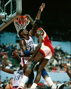 Dominique Wilkins dirty dunking on an unknown player