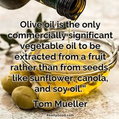 Olive oil is the only commercially significant vegetable oil to be extracted from a fruit rather than from seeds like sunflower canola and soy oil. Tom Mueller #quote