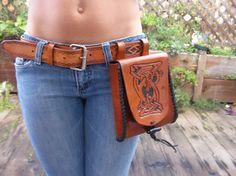 Leather Belt / Hip Bag / Celtic Belt / Tribal / Hip Purse / Hand Carved and Tooled / Hand Made / Custom / Men / Women
