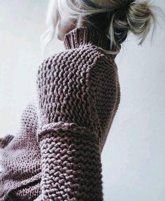 Col roulé tricot point mousse