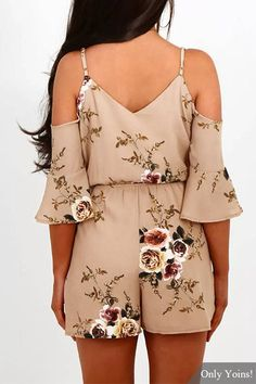 Random Floral Print Cold Shoulder V-neck Playsuit in Beige