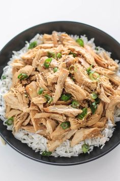 Slow Cooker Korean Pulled Chicken   Destination Delish – an easy recipe for tender chicken cooked in a sweet and savory mixture of garlic, ginger, and soy sauce