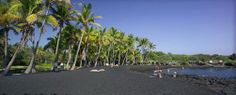 Punanluu Black Sand Beach - Hawaii (Big) Island.  We visited this beach several years ago when we rented a car on a day excursion during a cruise of the Hawaiian Islands.